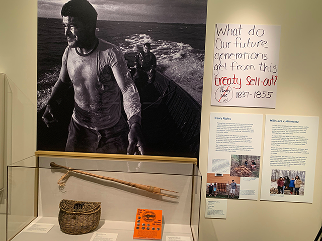 """Treaty rights dispute display at the new exhibit """"Our Home: Native Minnesota."""""""