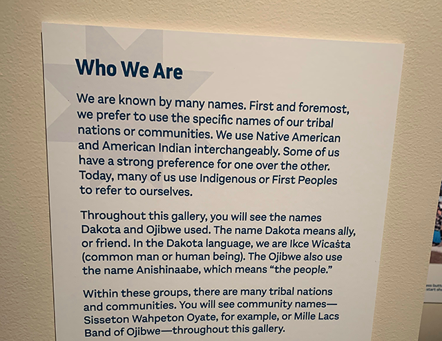 """Explainer plaque at the new exhibit """"Our Home: Native Minnesota,"""" opening Saturday at MNHS."""