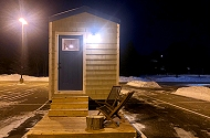 A tiny house prototype sits in the parking lot of Maplewood's Woodland Hills Church.