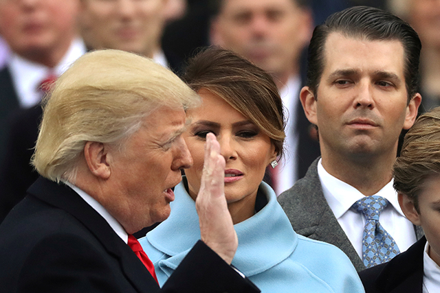 Donald Trump being sworn in