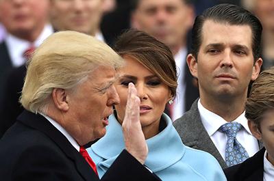 Donald Trump being sworn in