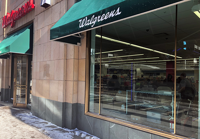 Windows into a Walgreens, unblocked by shelving, tints, or signs.