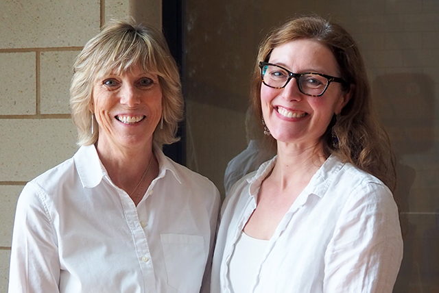 Macalester's director of health promotion, Lisa Broek, shown with Kelly MacGregor, a Macalester geology professor