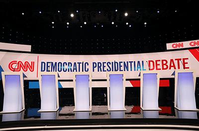 Democratic 2020 presidential debate stage at Drake University
