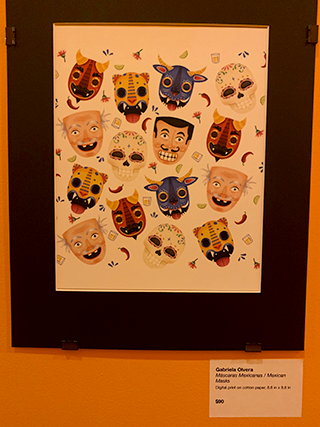 The back hallway of La Dona functions as the UR/IN gallery, which showcases local Latinx artists' work.