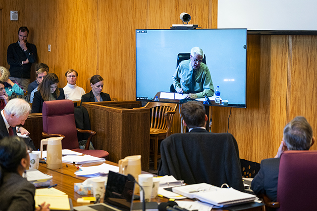 Kevin Pierard, who oversaw a key water permit at the U.S. Environmental Protection Agency, is questioned via video.