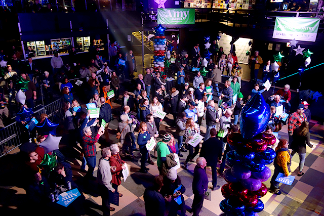 Rally attendees filled the First Avenue dance floor on Friday night.