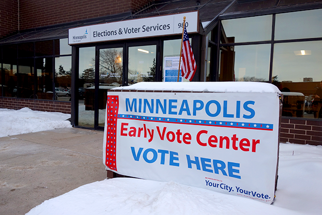 The Minneapolis Early Vote Center on Hennepin Avenue opened Friday morning.