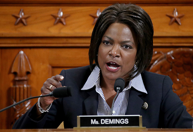 Rep. Val Butler Demings questioning constitutional scholars during a House Judiciary Committee hearing on Dec. 4.