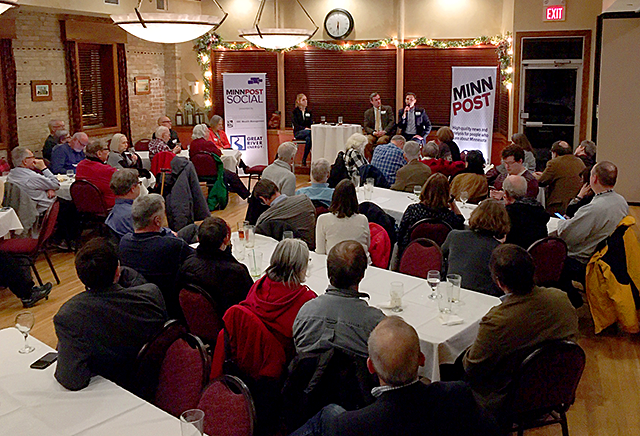 Over 100 MinnPost members and readers gathered at Elsie's on Thursday to hear from reporters about the upcoming Minnesota legislative session.