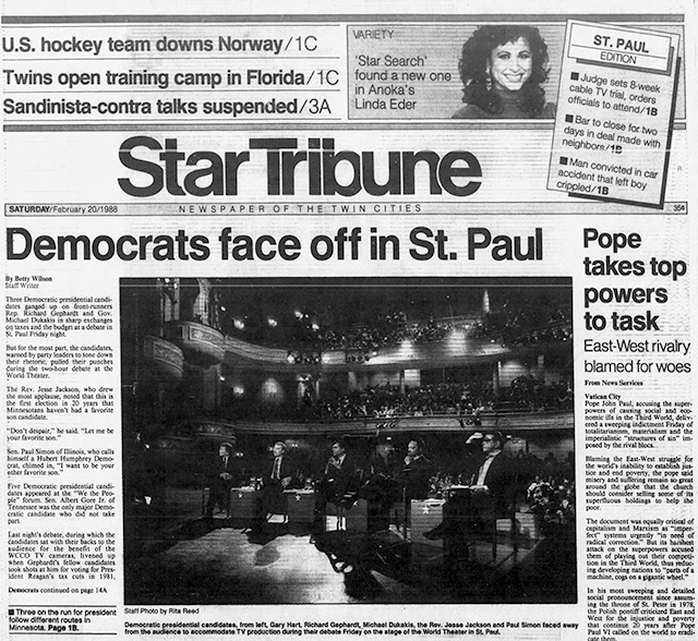 A detail from the Feb. 20, 1988 issue of the Star Tribune showing the Democratic debate.