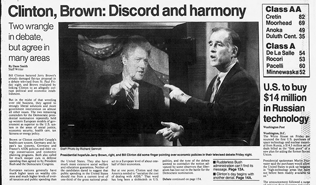 A detail from the March 28, 1992 Star Tribune front page featuring the debate between Bill Clinton and Jerry Brown.