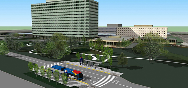 A proposed Gateway Gold Line station at 3M's Maplewood HQ