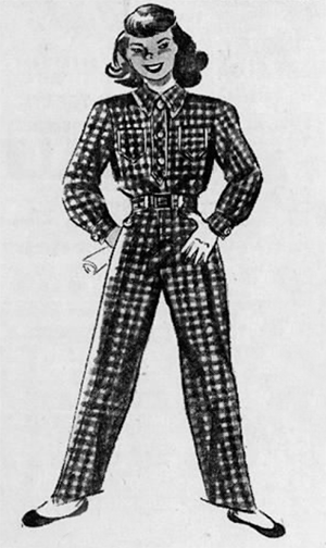 Detail of a 1947 ad for a buffalo check after-ski suit from the Baker Co. on Nicollet Ave.