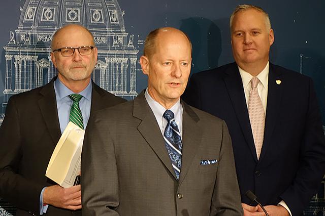 Sen. Roger Chamberlain, Senate Majority Leader Paul Gazelka, and Sen. Paul Anderson speaking on Thursday about the budget surplus.