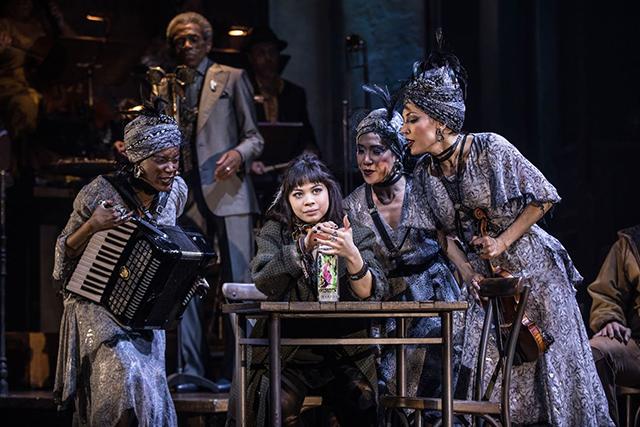 "Eva Noblezada and the original Broadway cast of ""Hadestown."""