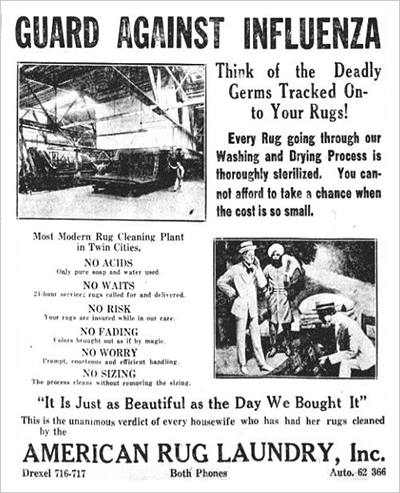 October 1918 ad from the American Rug Laundry
