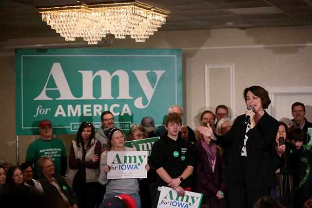 Sen. Amy Klobuchar speaking in Cedar Rapids on Sunday.