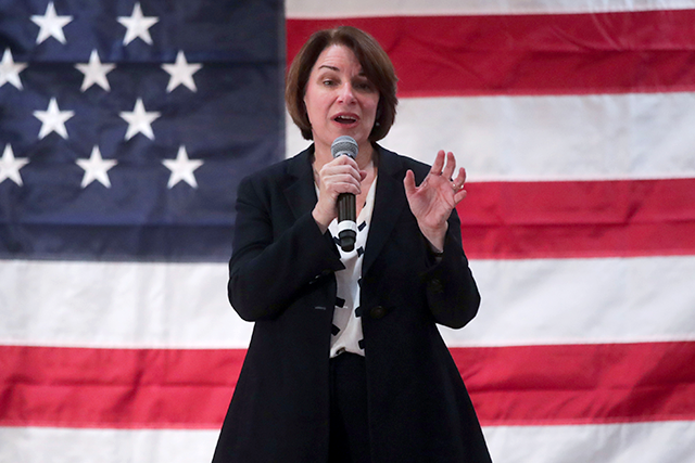 Sen. Amy Klobuchar holding a campaign event in Mason City on Sunday.