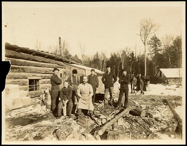 E. H. Hobe's logging camp, Knox Mills, Wisconsin, 1900