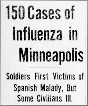 A headline from the September 30, 1918 edition of the Minneapolis Morning Tribune