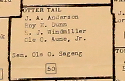 Detail from a 1951 map shows four representatives for Otter Tail County, which had a population of 30,700.