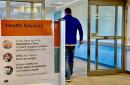A health advisory sign at a Park Nicollet clinic.