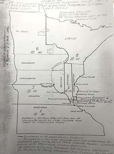 A map showing 1849 territorial Legislature districts.