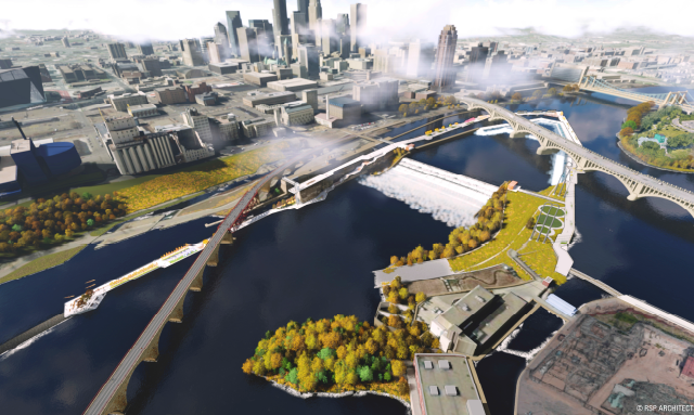 Commissioner Mike Opat envisions a ¾-mile promenade that uses St. Anthony Falls' infrastructure to connect both banks of the river.