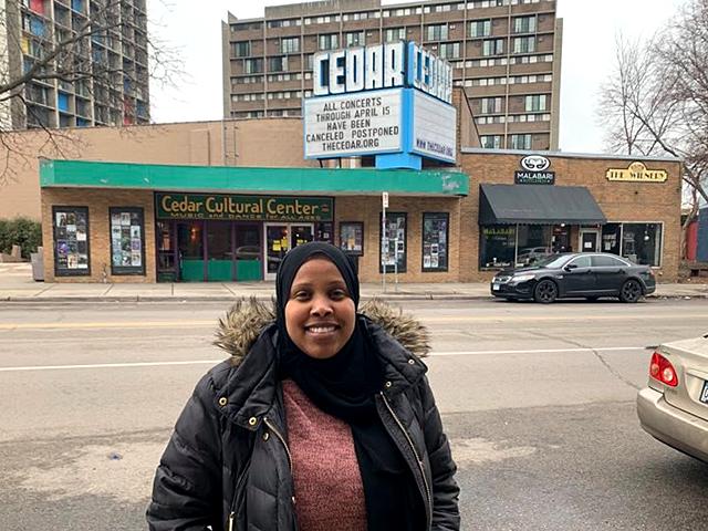 Shamso Mohamed in the Cedar-Riverside neighborhood of Minneapolis