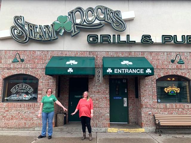 Manager Katie Schille and bartender Kellie Sabin practiced social distancing at Shamrock's Bar