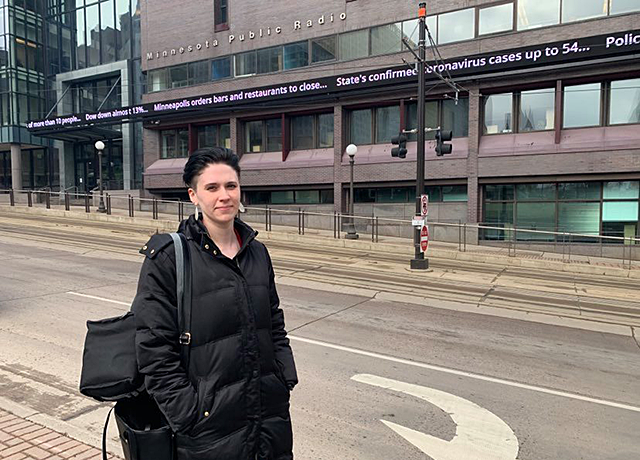 Jessica Campana outside the Minnesota Public Radio offices in downtown St. Paul
