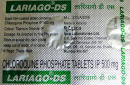 A package of chloroquine phosphate tablets