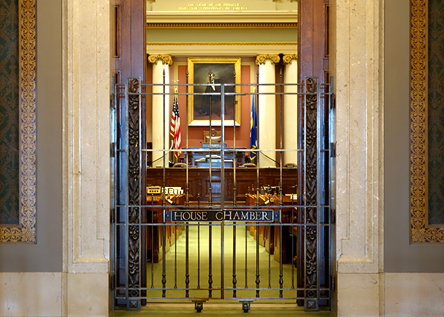 The closed chambers of the Minnesota House of Representatives.