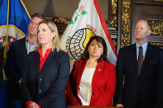 House Minority Leader Kurt Daudt, House Speaker Melissa Hortman, Senate Minority Leader Susan Kent, and Senate Majority Leader Paul Gazelka