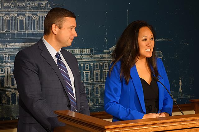 DFL Chair Ken Martin and Republican Chair Jennifer Carnahan
