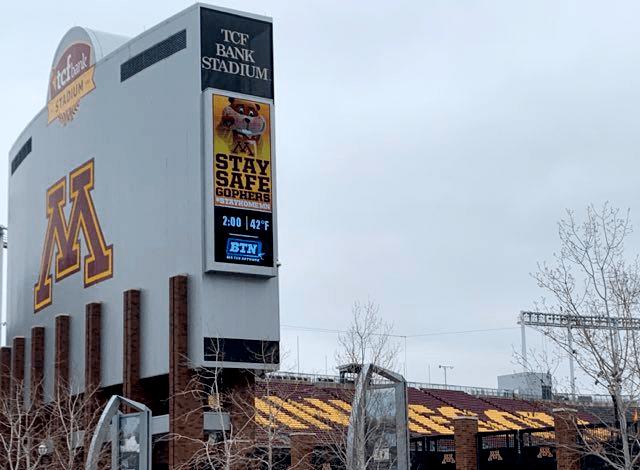 """Stay Safe Gophers #StayHome"": TCF Bank Stadium, University of Minnesota"
