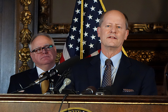 """Senate Majority Leader Paul Gazelka: """"Just know that we are unified in Minnesota, the House (and) the Senate, Republicans and Democrats."""""""