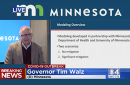 Gov. Tim Walz speaking during Wednesday's live-streamed address.