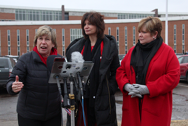 American Federation of Teachers President Randi Weingarten, National Education Association President Lily Eskelsen Garcia, and Education Minnesota President Denise Specht