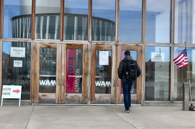 photo of voter walking into polling place