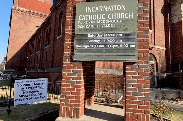 """No Public Masses This Weekend"": Incarnation church, south Minneapolis."