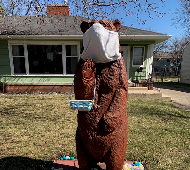 Masked Easter bear, Edina.