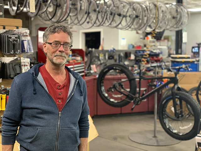 Bikes by Bob owner Bob Tanner in his bike shop.