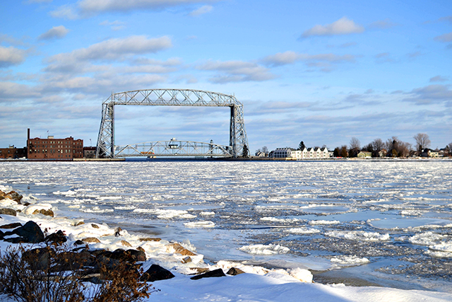 Duluth's Aerial Lift Bridge, a city landmark and passageway for ships between the city's port and Lake Superior.