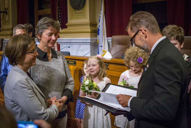 From August 1, 2013: Cathy Abene and Maren Lindner's marriage ceremony officiated by state Sen. Scott Dibble.