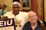 Debra Howze with home care client activist Jim Carlisle at the State Capitol.
