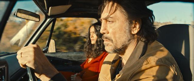 "Salma Hayek and Javier Bardem in ""The Roads Not Taken."""