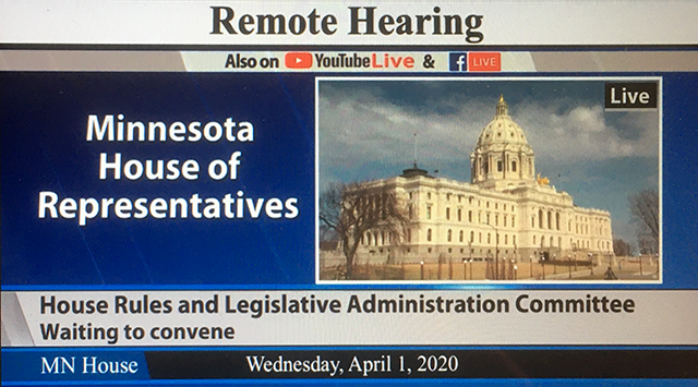 For the first time, a Minnesota legislative committee met and voted via conference call with members taking part from their home districts.