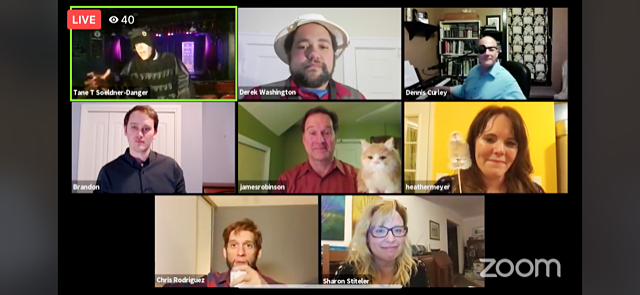 Tane Danger and the performers of The Theater of Public Policy shown during their livestreamed show on Zoom.
